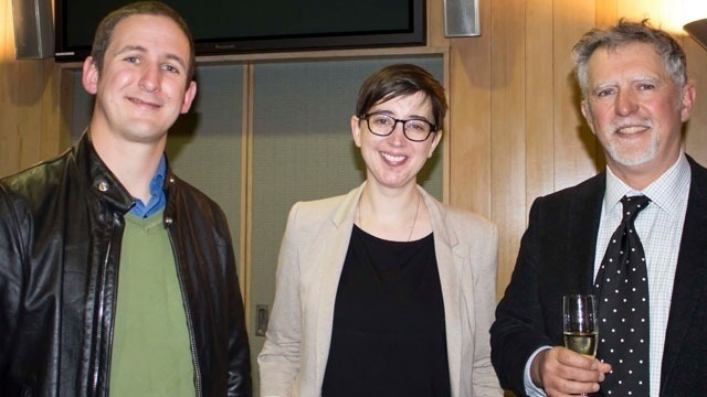 School of Philosophy Head, Associate Professor Seth Lazar (left), Centre Director Dr Rachael Brown, and guest lecturer Professor Peter Godfrey-Smith